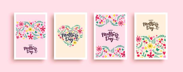 Fototapeta Happy mother's day pink flower heart card set