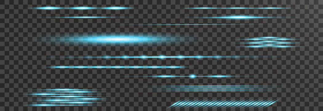 Light lines. Light effect. Beautiful light flares. Lens flares. Luminous sparkling lines. Laser effect. Light rays. Special design of line. Vector illustration. Transparent background.