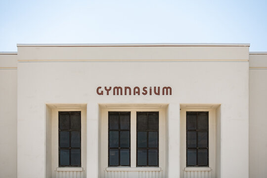 A straight on of a gymnasium