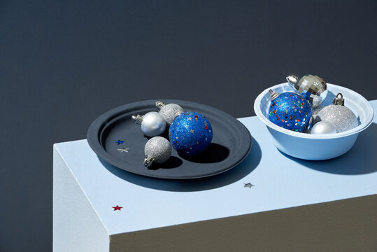 Beautiful still life with round blue christmas decorations.