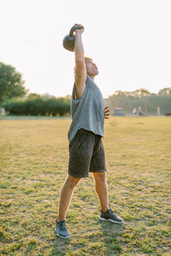 Man workout in the park