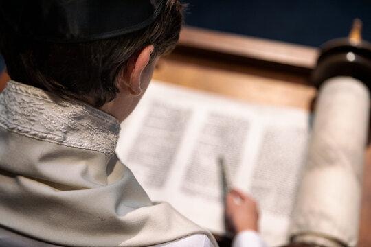 Synagogue: Teen Male Alone On Bimah Doing Torah Reading
