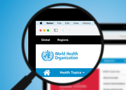 World Health Organization vector webpage, on MacBook, with a magnifying glass. Vector illustration. Replaceable text, editable.