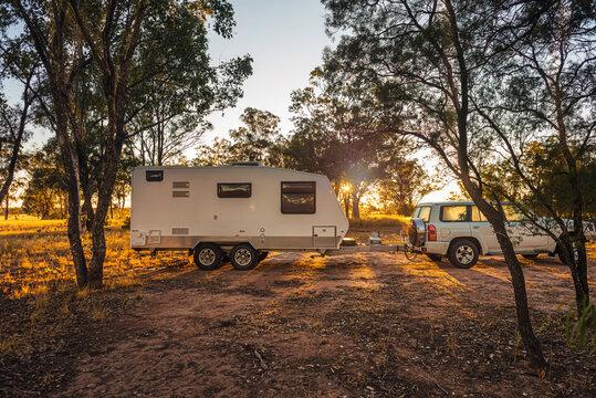 caravan in rural setting