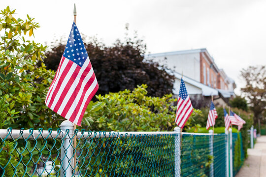 American Flags on Fence