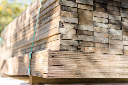 Stack of Lumber Outdoors