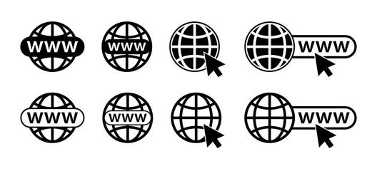 WWW icon. Website icon vector black color. Set web icon