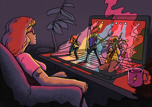 Girl Watching Online Virtual Music Concert