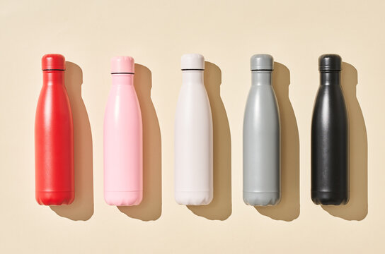 Colorful reusable bottles for water