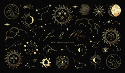 Fototapeta Golden set of sun, moon, stars, clouds, constellations and esoteric symbols. Alchemy mystical magic elements for prints, posters, illustrations and patterns. Spiritual occultism objects. obraz