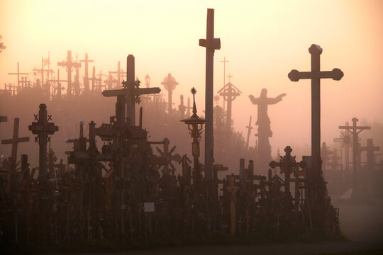 Lithuania's Hill Of Crosses on a foggy morning.