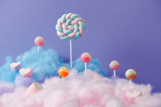 Sweet purple lollipop candy world