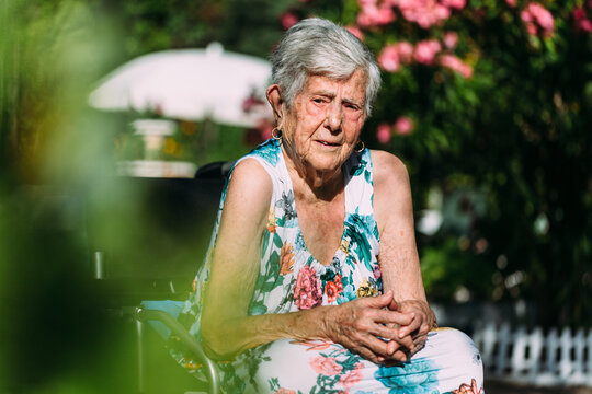 Elderly woman sitting on wheelchair and looking at camera
