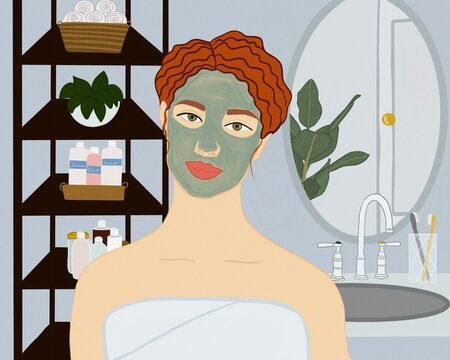 Woman with clay mask on face