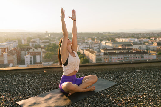 Outdoor yoga on the roof