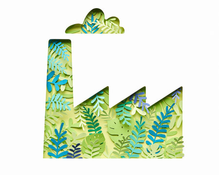 Paper factory decorated with tropical plants