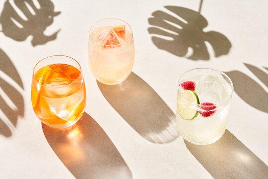 Glasses of cold summer cocktails