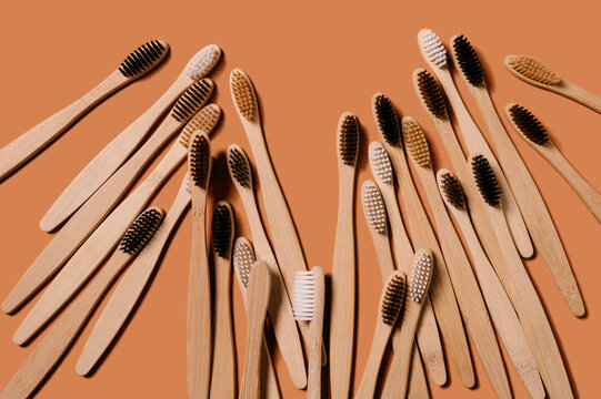 Bunch of eco friendly bamboo toothbrushes