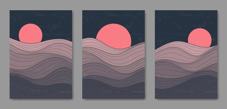 Set of three Abstract Aesthetic mid century modern landscape line Contemporary boho poster cover template. Minimal and natural Illustrations for art print, postcard, wallpaper, wall art.