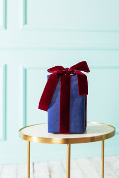 Elegant New Year's gift in a stylish room