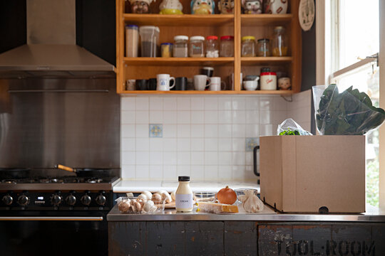 kitchen with meal kit