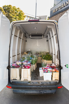 Stock photo of a wholesale van ready to distribute fresh flowers