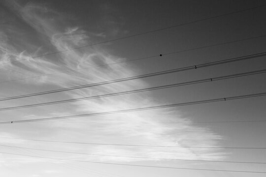 black and white minimal sky view from a car