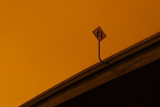 highway merge lane sign