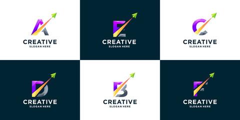 Obraz Set of gradient letter and arrow logo design - fototapety do salonu