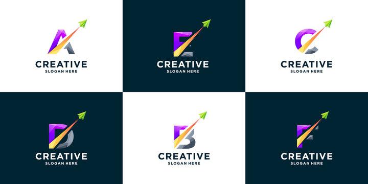 Set of gradient letter and arrow logo design