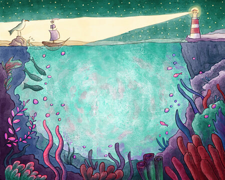 Lighthouse And Underwater Life Watercolor Illustration