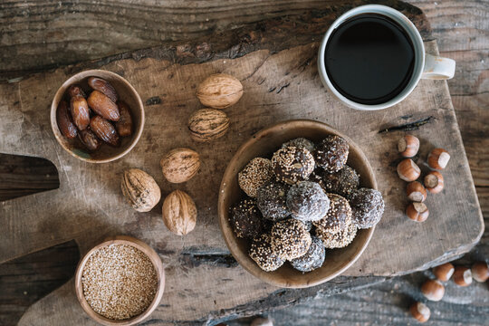 Still Life From Above Of Raw Energy Balls With Nuts