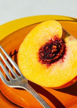 Peach on a plate