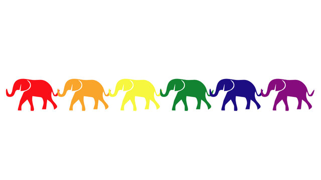 Elephants with lgbt flag colors
