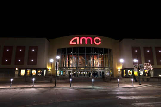 AMC movie theater complex in the evening. Roseville Minnesota MN USA