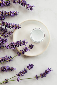 Lavender Skincare Product Styled Flatlay