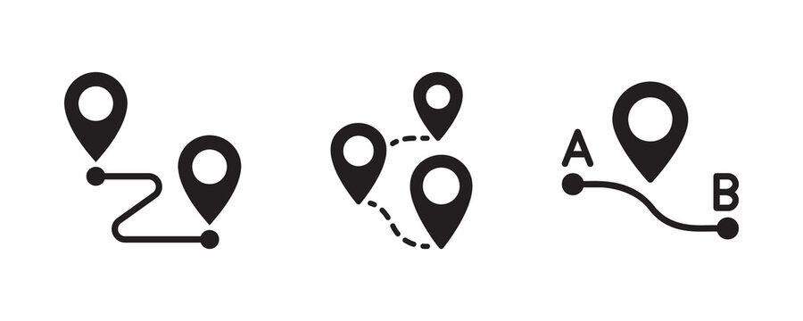 Map, route, gps distance, roadmap icon set. Vector graphic illustration. Suitable for website design, logo, app, template, and ui.