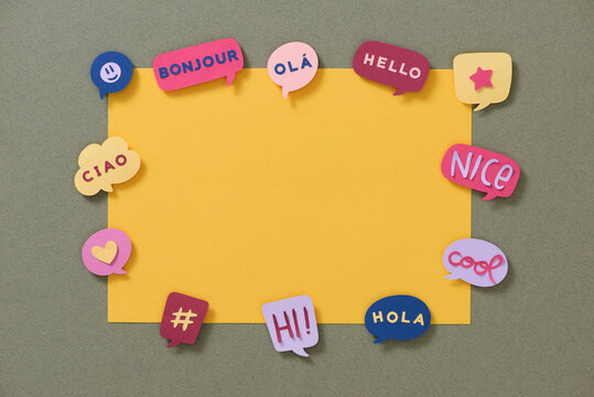 Cool OK Yes thank you, Speech bubbles with dialog words make by paper.