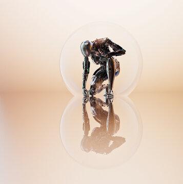 Robot in transparent sphere kneeling in contemplation