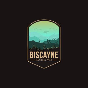 Emblem patch logo illustration of Biscayne National Park on dark background