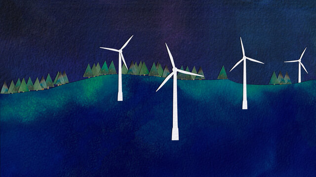 Wind Turbines at Night, watercolour collage