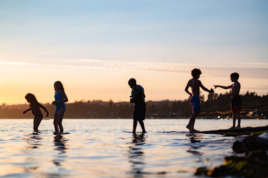 Friends wade in the water at sunset .