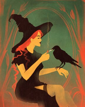 Witch and raven.