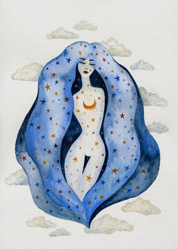 Night female watercolor character