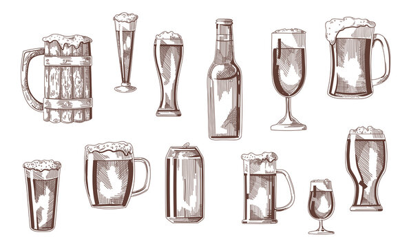Beer drink in glasses, pints, mugs, can sketch set. Vintage beverages vector illustration. Hand drawn elements collection. Brewery concept