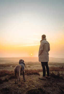 A young man in a beige coat standing in the foggy field with a dog by side at the sunrise