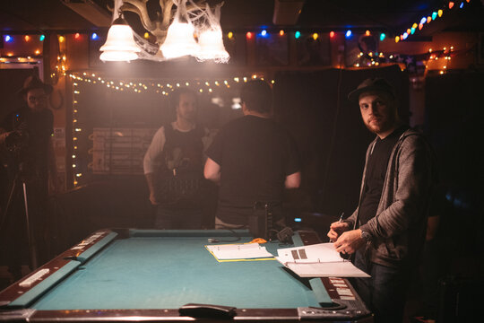 A film crew prepares to begin shooting a scene