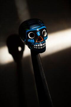 decorative human skull in honor of Dia de los Muertos
