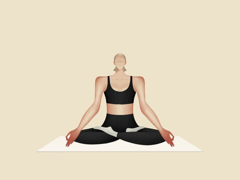Yoga Girl in lotus position healthy lifestyle and harmony concept.