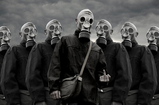 A group of soldiers in gas masks
